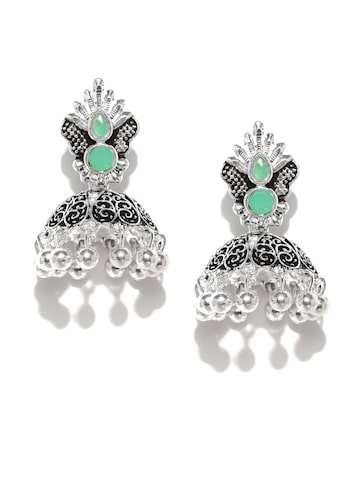 Zaveri Pearls Silver-Plated Dome Shaped Jhumkas at myntra