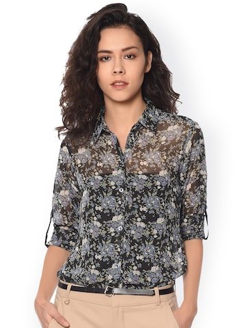 PURYS Women Black Relaxed Regular Fit Printed Casual Shirt at myntra