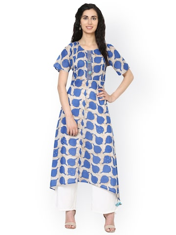 Aujjessa Women Beige & Blue Printed A-Line Kurta at myntra
