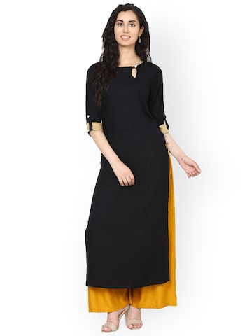 Aujjessa Women Black Solid Straight Kurta at myntra