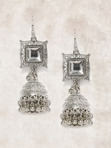 Anouk Silver-Toned Dome Shaped Jhumkas Anouk Earrings at myntra