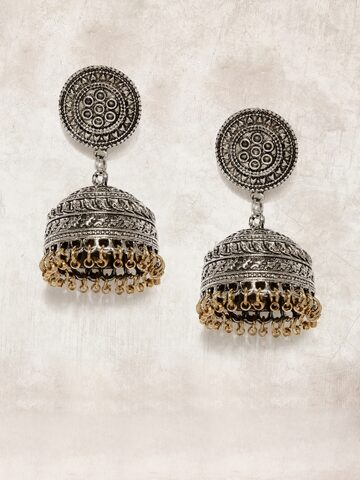 Anouk Oxidised Silver-Toned Dome Shaped Jhumkas Anouk Earrings at myntra