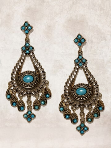 Anouk Antique Gold-Toned & Blue Contemporary Drop Earrings Anouk Earrings at myntra
