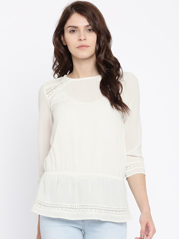 Jealous 21 Women Off-White Solid Cinched Waist Top at myntra