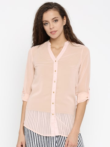 Jealous 21 Women Peach-Coloured Solid Shirt Style Top at myntra