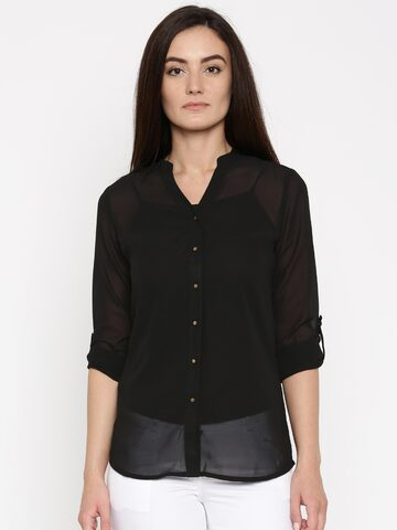 Jealous 21 Women Black Solid Shirt Style Top at myntra
