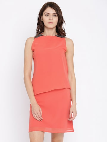 Jealous 21 Coral Orange Solid A-Line Dress at myntra