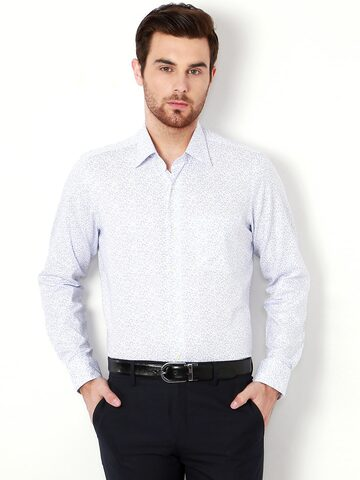 Van Heusen Men White Printed Slim Fit Formal Shirt at myntra