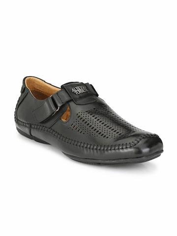 Alberto Torresi Men Black Comfort Sandals Alberto Torresi Sandals at myntra