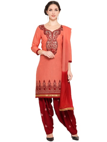 Ishin Peach-Coloured & Maroon Pure Cotton Embroidered Unstitched Dress Material at myntra
