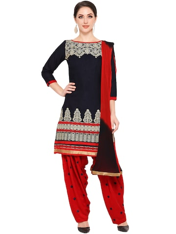Ishin Navy & Red Unstitched Dress Material at myntra