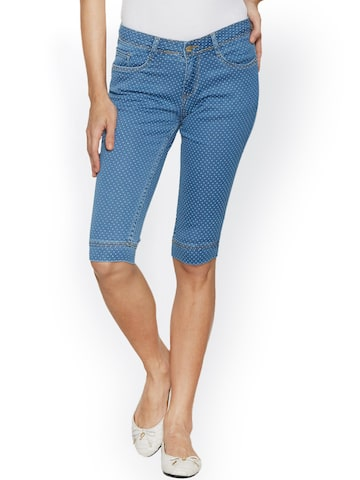 Kraus Jeans Blue Denim Capris at myntra