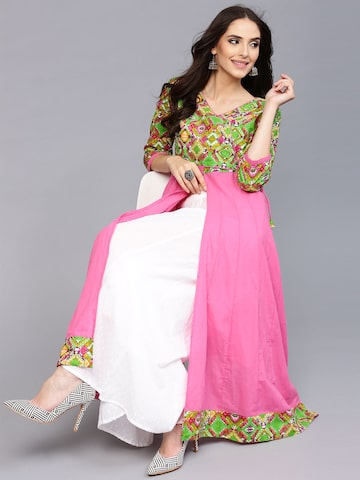 AKS Women Pink & Green Printed Anarkali Kurta at myntra