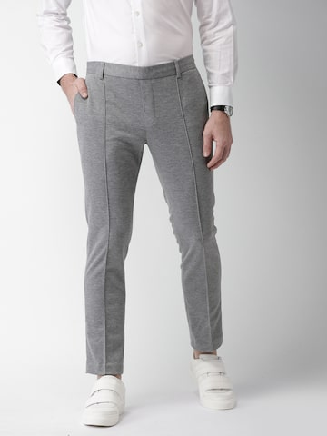 INVICTUS Men Grey Melange Slim Fit Solid Regular Trousers at myntra