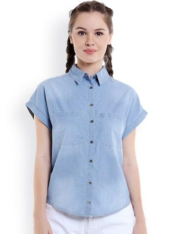 TARAMA Women Blue Comfort Boxy Fit Faded Casual Shirt at myntra