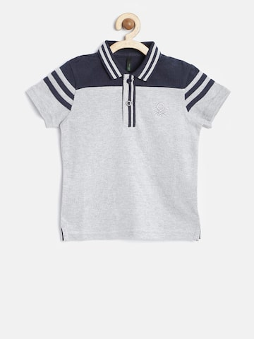 United Colors of Benetton Boys Grey Melange Solid Polo Collar T-shirt at myntra