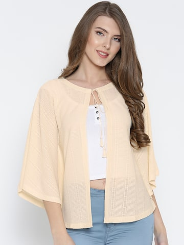 Global Desi Cream-Coloured Patterned Semi-Sheer Shrug at myntra