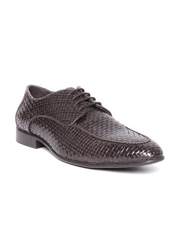 Lee Cooper Men Coffee Brown Real Leather Basketweave Patterned Semiformal Shoes at myntra