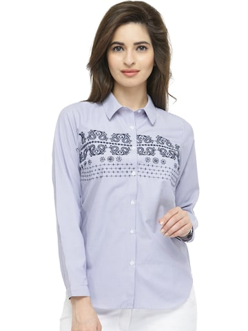 plusS Women Blue Striped Casual Shirt at myntra