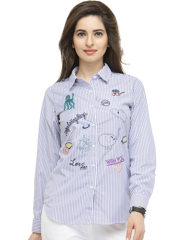 plusS Women Blue & White Striped Casual Shirt at myntra