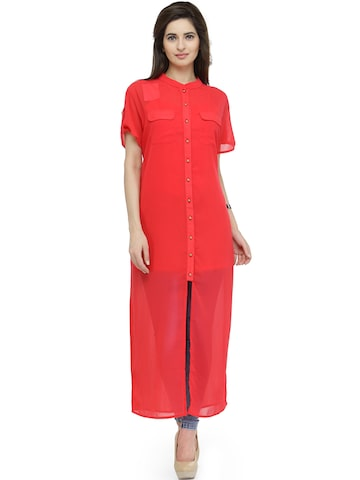 plusS Women Coral Red Longline Casual Shirt at myntra