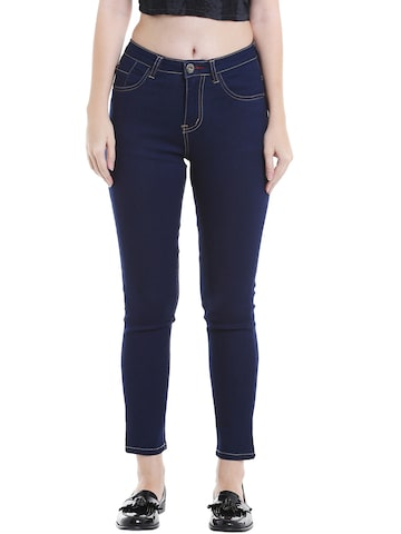 TARAMA Women Navy Blue Skinny Fit Mid-Rise Clean Look Jeans at myntra