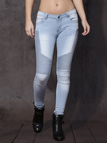 Roadster Women Blue Slim Fit Mid-Rise Clean Look Stretchable Biker Jeans Roadster Jeans at myntra