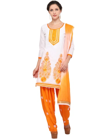 Ishin White & Orange Embroidered Unstitched Dress Material at myntra
