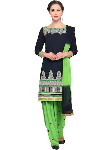 Ishin Navy & Green Embroidered Unstitched Dress Material at myntra