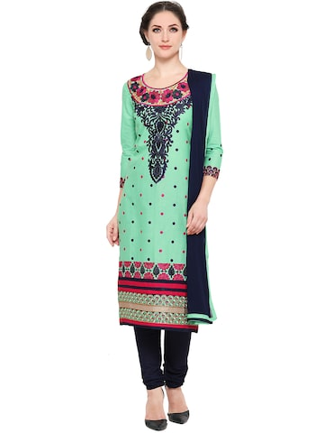 Ishin Green & Navy Embroidered Unstitched Dress Material at myntra