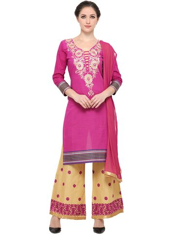 Ishin Purple & Beige Embroidered Unstitched Dress Material at myntra