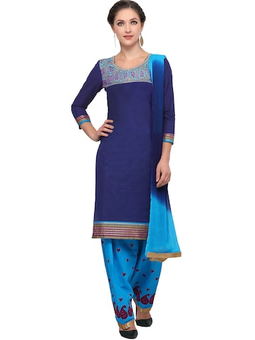 Ishin Blue Cotton Blend Embroidered Unstitched Dress Material at myntra