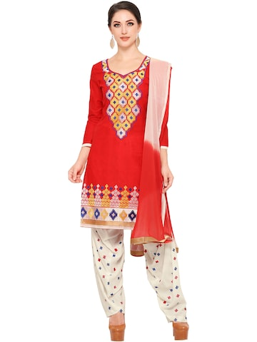 Ishin Red & Off-White Embroidered Unstitched Dress Material at myntra