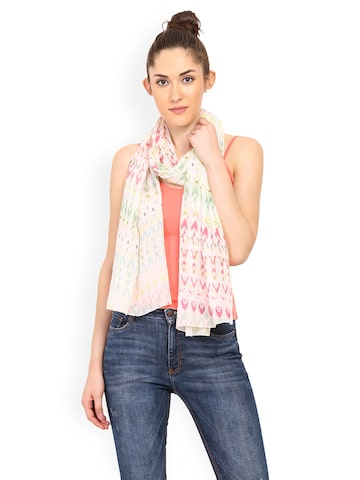 Trend Arrest Off-White Printed Scarf at myntra