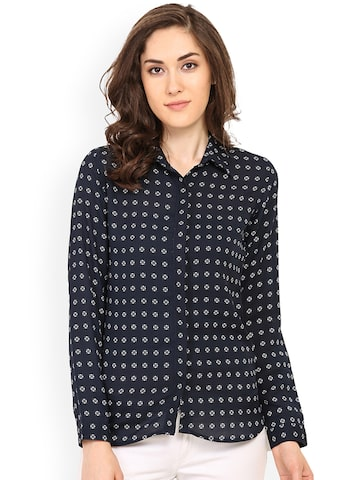 Trend Arrest Women Blue Regular Fit Printed Casual Shirt at myntra