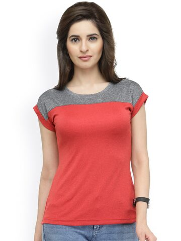 plusS Women Red & Grey Round Neck T-shirt at myntra