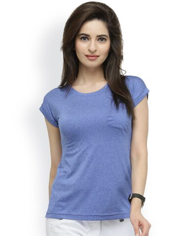 plusS Women Blue Solid Round Neck T-shirt at myntra