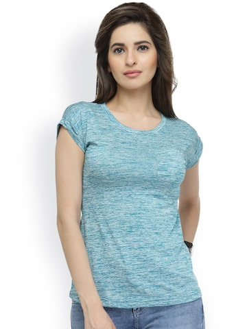 plusS Women Green Printed Round Neck T-shirt at myntra