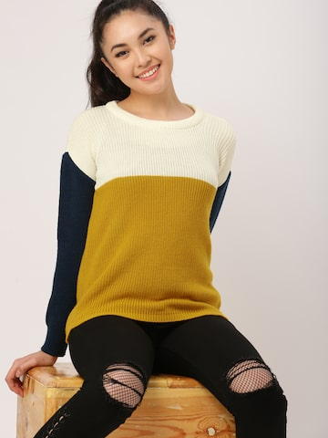 DressBerry Women Cream-Coloured & Mustard Yellow Colourblocked Pullover DressBerry Sweaters at myntra
