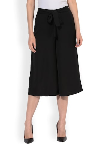 Besiva Women Black Relaxed Flared Culottes at myntra