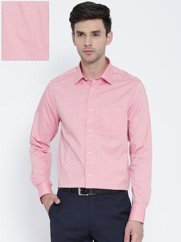 Blackberrys Men Pink Slim Fit Self-Design Formal Shirt Blackberrys Shirts at myntra
