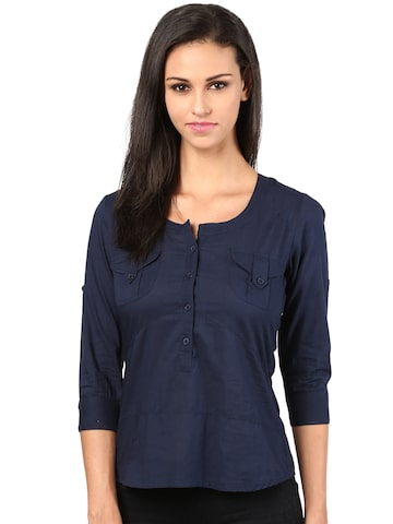 The Vanca Women Navy Solid Shirt Style Top at myntra