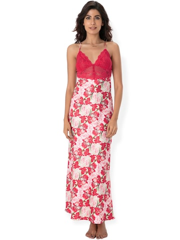 PrettySecrets Pink & Off-White Floral Print Maxi Nightdress NW0031 at myntra