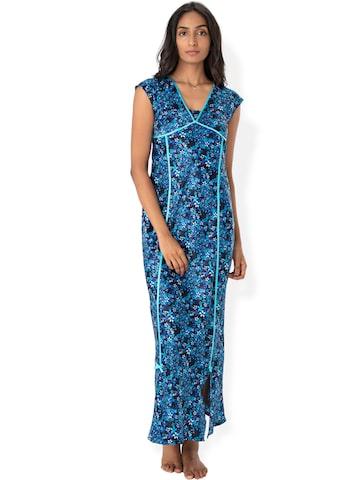 PrettySecrets Black & Blue Floral Print Maxi Nightdress NW0032 at myntra