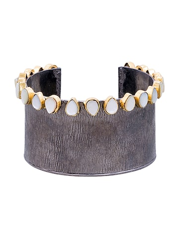 Sia Art Jewellery Gunmetal-Toned Stone-Studded Cuff Bracelet at myntra