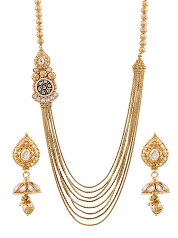 Sia Art Jewellery Gold-Plated Stone-Studded Jewellery Set at myntra