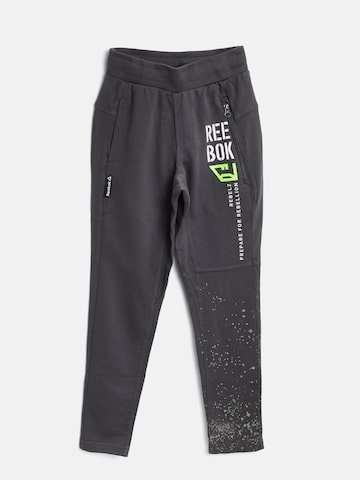 Reebok Boys Charcoal Grey REB J Printed Training Track Pants at myntra