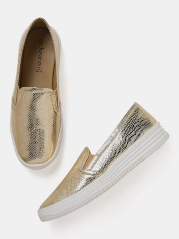 DressBerry Women Gold-Toned Textured Slip-On Sneakers DressBerry Casual Shoes at myntra