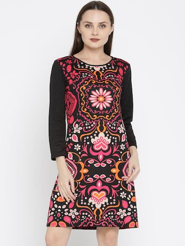 Global Desi Women Black & Pink Printed Shift Dress Global Desi Dresses at myntra