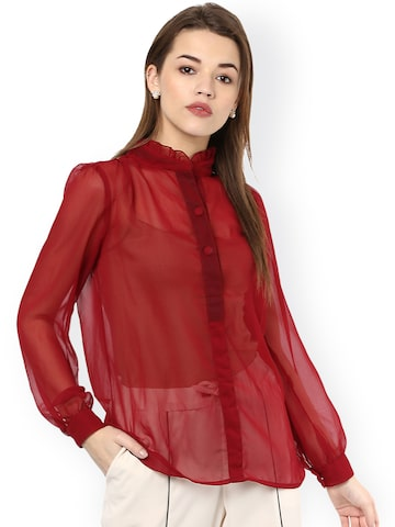 La Zoire Women Maroon Regular Fit Solid Sheer Casual Shirt at myntra